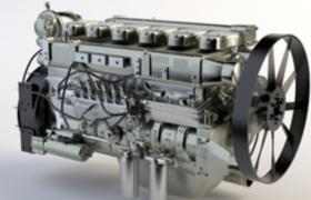 高精度直列6缸发动机engineC4D工程模型