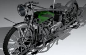 外形支架爆改的巡航摩托车c4d模型