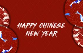 2020鼠年中国风红色背景时尚花纹图案新年快乐海报宣传模板