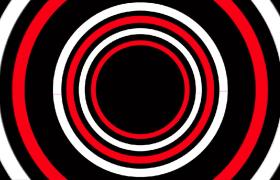 黑色背景红白圆环内嵌交错旋转动感舞台背景视频素材下载