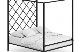 中式创意设计风格的格调床C4D工程模型