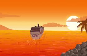 ?黄昏下游轮海上航行可爱动画特效视频素材