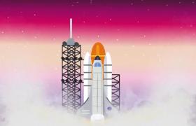 炫彩动画火箭冲向天空特效视频素材参考