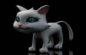 卡通白猫绑定C4D动画模型cat(暂无贴图)