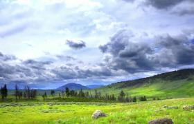 高清实拍美丽草原上风云骤变乌云笼罩视频素材