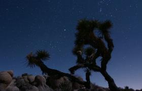 ?沙漠上空群星密布流星划过延时实拍视频素材下载