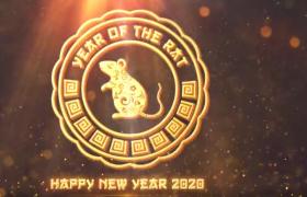 中国风2020年鼠年新年标志包装片头动画制作AE模板