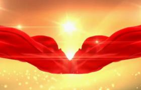 中国风金色光束粒子闪耀背景红绸带飘逸舞台背景视频素材参考