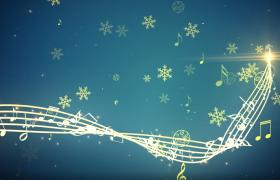 雪花飄舞金色五線譜旋轉閃耀揭示圣誕快樂AE動畫模板