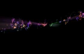 炫彩光束闪现音符变幻飞舞舞台背景视频素材