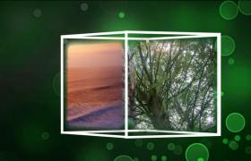 綠泡泡背景正方體三維效果電子相冊會聲會影視頻素材模版