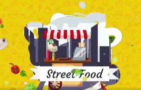 经典美食街美食栏目包装宣传MG动画制作AE模板