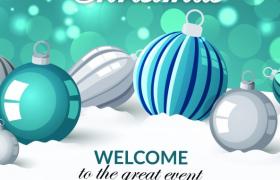梦幻闪耀光斑圣诞球装饰圣诞节派对邀请函宣传海报模板