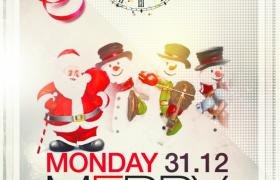 有趣卡通风圣诞老人雪人插图圣诞节宣传海报平面模板