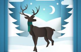 扁平化蓝色圣诞节新年庆祝贺卡海报宣传模板参考