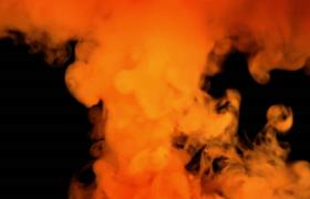 橙紅色煙霧撒入水中融合散開特效視頻素材