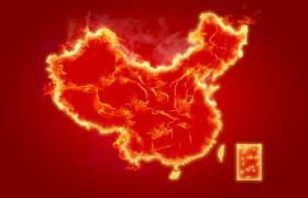 红色背景下火焰汇聚中国地图psd平面素材