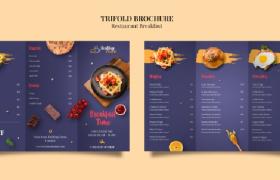 深藍色經典簡約現代時尚早餐餐廳菜譜宣傳平面素材