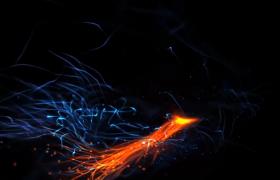 唯美高清红蓝粒子火花闪烁字幕标题文字展示开场动画AE模板