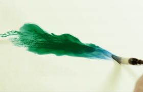 毛筆繪制水墨暈染山水中國動畫特效視頻素材