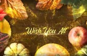 金色粒子爆炸消散祝福文字入场节日视频开场AE动画模板