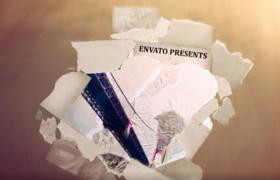 破碎日志纸片演绎回顾历史记忆动态线索AE视频模板