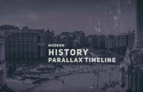 黑白历史视差转场图文演绎历史发展进程AE视频模板