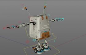C4D卡通背包机器人模型(可活动关节不含贴图)