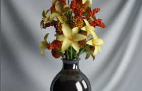 室内饰品彩色花卉陶瓷花瓶摆件c4d模型素材下载