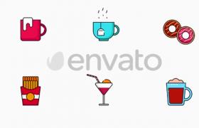 多彩卡通生活飲食醫療工具圖標AE模板