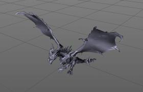 遠古魔幻巨獸冰雪蒼龍C4D模型(帶綁定動畫)