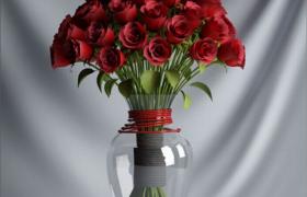 人造仿真玫瑰花室内装饰品摆件C4D预览模型(含材质图片)