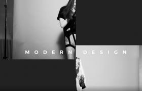 黑白视差时尚图文展示酷炫转场视频AE模板