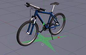 bicycle9个多边形对象构成的山地自行车C4D模型