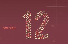 星星匯聚數字60秒倒計時新年片頭AE模板