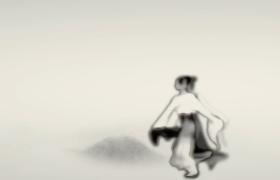 古风水墨山水墨舞仙鹤落地化人起舞高清特效视频素材
