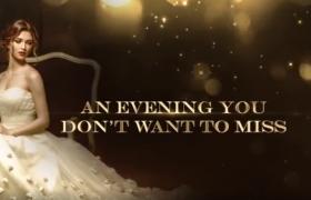 金色粒子閃爍華美年會舞臺頒獎典禮背景視頻AE模板