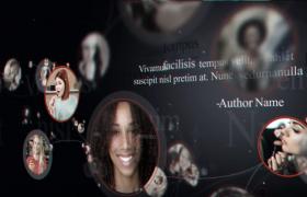 圓形便利貼窗口展示溫馨家庭成員照片視頻動畫AE模板