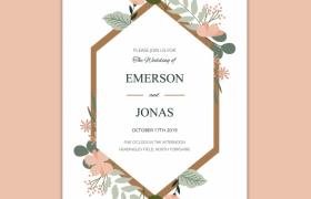 歐美簡約風花簇裝飾婚禮婚慶邀請函請柬平面素材