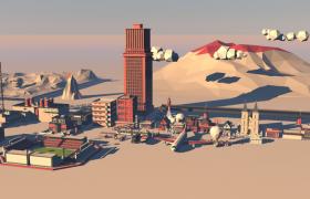 低面体高海拔地形科技场景c4d模型(含贴图)