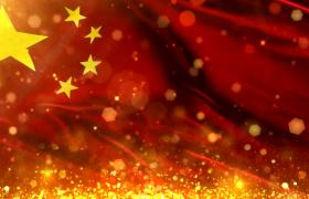 大氣金色粒子中國五星紅旗片頭展示AE模板