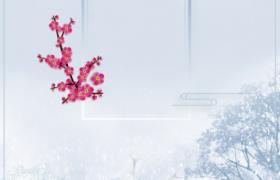 美丽麋鹿梅花唯美雪景冬季季节宣传海报素材下载