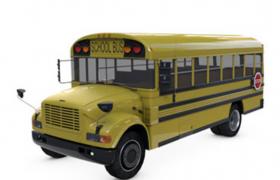 正规的校园往返接送巴士C4D模型黄色Bus