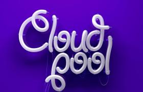 紫色背景炫酷霓虹灯灯管图文艺术字C4D模型(含贴图)