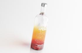高濃度酒精vodka伏特加唯美暖色系玻璃酒瓶c4d模型(含貼圖)