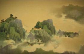 唯美水墨画风云雾笼罩的山脉上大雁向南飞古风视频素材