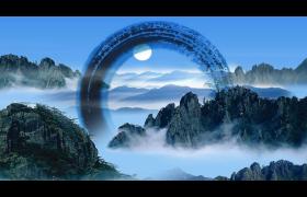 太阳高挂天空下云雾笼罩着的巍峨山脉古风视频素材参考