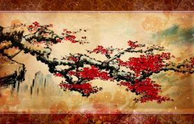 水墨画旋转着的伞上画着梅花树四周樱花飞舞古风视频下载