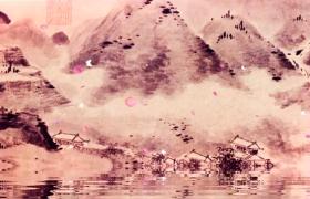 水墨古风层峦叠嶂的山脉下一片村落坐落于岸边视频素材下载