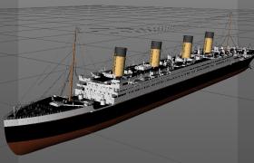 世界五大沉船之謎泰坦尼克號皇家豪華郵輪C4D模型
